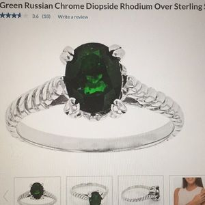 Green Russian chrome rhodium over sterling silver